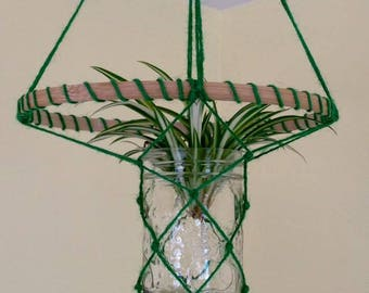 Green Macrame plant rooter