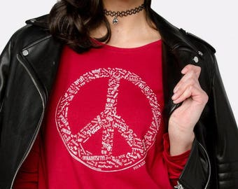 Fig & Lily Peace Tee — Rebel Red