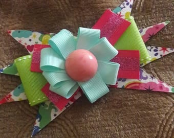 Bright and fun unicorn hair bow