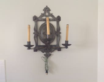 Pair Vintage English Metal Wall Sconces Armorial Design Recently Rewired.