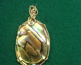 Wire wrapped Abalone by artisan using sterling silver