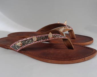 Luxury bespoke all leather footwear hand encrusted with luxury Czech crystals and crystalised spikes
