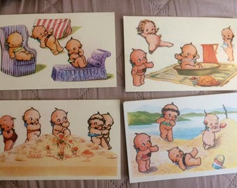 4 - Vintage Kewpie Postcards - Rose O' Neil  unused