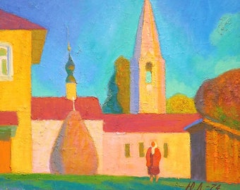 "Original Painting by Russian Yuri Lobachev ""Church at Gorokovets"""