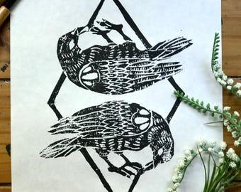 Double Raven linocut print