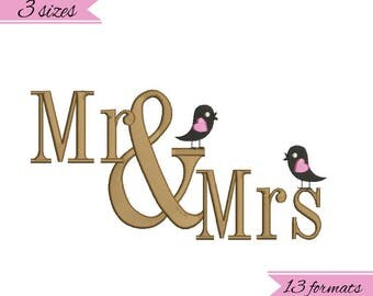 Mr. and Mrs. birds embroidery machine designs,wedding pattern,heart,merried
