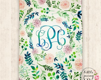 Monogram Personalized Floral Print Blanket - Super Plush Minky Blanket with Watercolor Floral Flower Wreath - 30x40, 50x60, 60x80