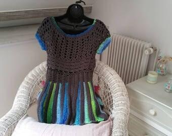 Unique crochet model grey dress