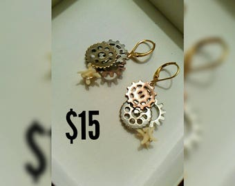 Snake Vertebrae Gear Earrings