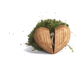 Oak Proposal Ring Box, Slim Engagement Ring Box, Thin Engagement Ring Box, Oak Engagement Ring Box, Oak Heart Box, Oak Ring Box, Wooden Box
