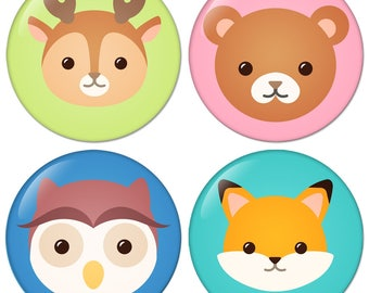 Flat Lovely Animal Avatar No1 set of four size 1.25 inch