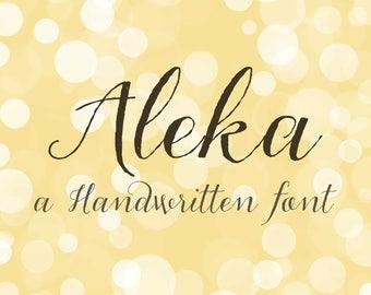 Modern calligraphy font - Wedding font - Handwritten font - instant download font - Digital Script - Aleka font script