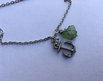 Wire Wrapped Sea Glass and Anchor Chain Necklace