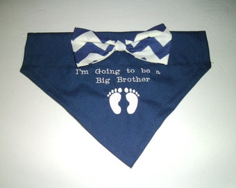 Gender Reveal, Dog Bandana, Big Brother, I'm Going to be a Big Brother,  Bow, Baby Feet, Scarf,  Baby Announcement, Baby Gift, Shower Gift