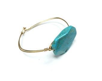 Jewelry Kit DIY - Marquis Turquoise Bead Wire Bangle Bracelet- Silver or Gold Wire With Turqupise Beads