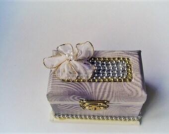 Wedding ring box, beaded ring box, silver box, fabric box, beaded trim, large white beaded flower