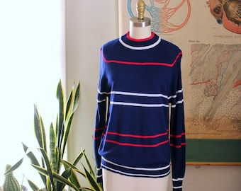 70s vintage striped mock neck sweater . lightweight acrylic sweater in blue red & white