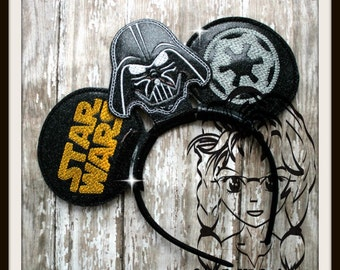 SW DaRK SiDE EViL Inspired Character (3 Piece) Mr Miss Mouse Ears Headband ~ In the Hoop ~ Downloadable DiGiTaL Machine Emb Design by Carrie