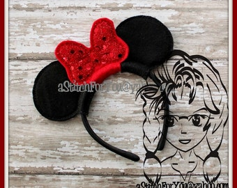 DoLL BoW Ms Mouse Inspired Character (3 Piece Set) ~ ITH Mr Miss Mouse Ears Headband ~ INSTaNT Download Machine Embroidery Design by Carrie