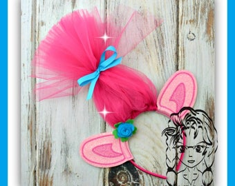 TRoLL EARS (only) PiNK GiRL ~ (2 Piece) Character Inspired Headband ~ In the Hoop ~ Downloadable DiGiTaL Machine Emb Design by Carrie
