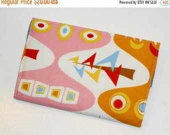 SALE SALE SALE - 20% Off Pink and Orange Journal / Mod Atomic Retro Diary / One of a KInd Portable Notebook -- Pink (Other Colors Available)