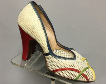 1940's FISHNET Heels, Cute PeeP TOES, ROCKABILLY High Heel Shoes, size 7 1/2
