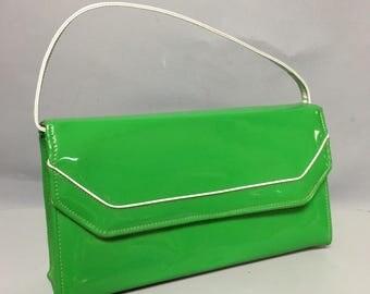 Lime Green Vintage 60s Patent LEATHER VINYL Bag / 1960's MOD Purse