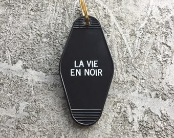 La Vie En Noir Hotel Key Chain in Black and White by Minor Thread Motel Key Fob