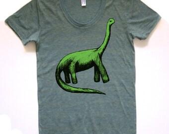 bronto tshirt, bronto tshirt, cute dinosaur shirt, brontosaurus gift, bronto, silkscreen, screen print, women's tshirt, free shipping