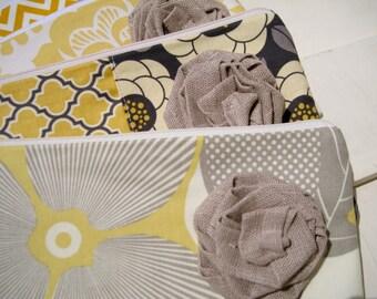 You CHOOSE FABRICS, 7 flower wedding clutches, gift set, wristlet, medium, 2 pockets, cotton, linen flower