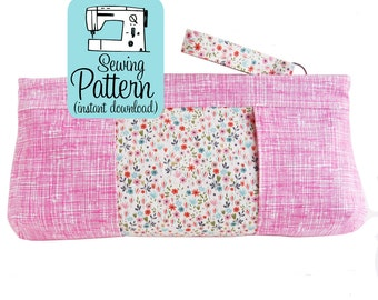 Violet Clutch PDF Sewing Pattern | Clutch Purse Handbag Sewing Tutorial | Make Up Cosmetic Bag Pattern PDF
