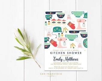 Kitchen Shower Invitation |  Printable Vintage Kitchen Shower, Bridal Shower Invite, Recipe Card | Digital PDF File