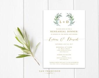 Rehearsal Dinner Invitation   Engagement Party Invite   Elegant, Eucalyptus, Leaves, Script, Gold    Printable Invitation   PDF