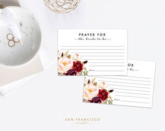 Prayer for the Bride Cards, Bridal Shower, Prayer Cards, 4''x6'', HOLLY Collection, Printable, Red, Coral, Floral  - Instant Download PDF