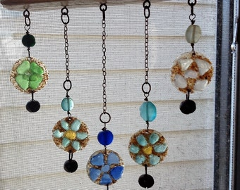 Sea Glass Wind Chime/Mobile/Suncatcher Multi Color Flowers-Small