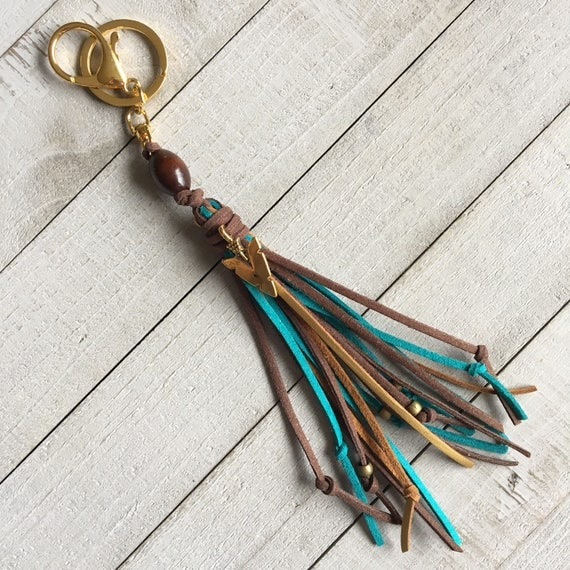 Tassel Purse Charm, Boho Tassel Keychain, Western Chic, Cowgirl Fashion, Gift for Her, Blue Brown Gold + Arrowhead Charm - KC238