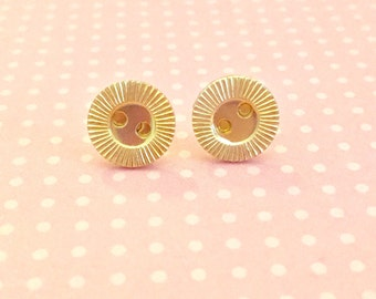 Gold Button Studs, Tiny Gold Earrings, Tiny Gold Metal Studs, Vintage Button Studs, Vintage Button Earrings, KreatedByKelly