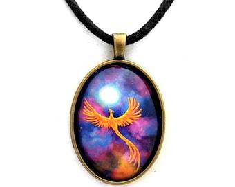Soaring Firebird In A Cosmic Sky Oval Pendant Handmade Fantasy Bird Phoenix Jewelry Fiery Orange Full Moon Night Stars Laura Milnor Iverson