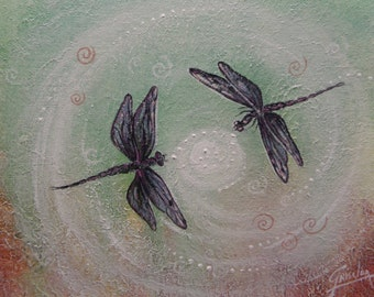 Dragonflies love dance, Dragonfly totem,  Original painting by Griselda Tello
