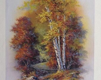 Birch Splendor,  Fine Art Giclee, FINE ART PRINT,  print with artist brushwork in oils  (2)