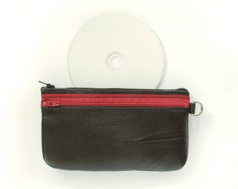Pouch with Two Zip Pockets in Black Upcycled Leather