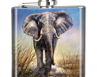 Photo Flask, Art Flask, Liquor Flask, HIp Flask - Handmade in NYC - ELEPHANT - Sealed in Resin - 4 sizes