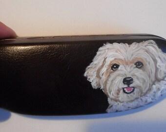 Maltipoo Malti-poo Dog Hand Painted Eyeglass Case Vegan