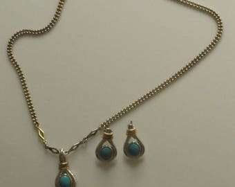 Sterling Silver Necklace Earrings Set Natural Turquoise Stone FINAL SALE