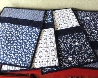 Japanese Tenugui Quilted Placemats - set of 4 - no.2