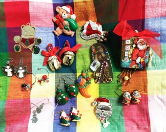 Christmas jewelry and decorations, some vintage, earrings, pins, pendants, handmade ornaments, vintage, cute, holiday jewelry, santa, bears