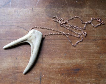 Double Antler Tip Necklace with Rose Gold Filled Chain - Antler Necklace real antler tip necklace Antler Jewelry bohemian jewelry boho chic