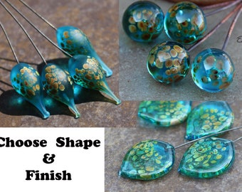 Aqua Raku - Handmade Lampwork Glass HeadPins , Choose shape and finish - SRA Elasia MTO, New Shape!