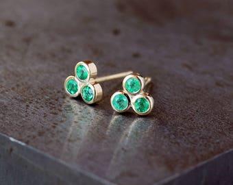Emerald Stud Earrings, Trinity Triangle Earrings, Emerald Trio Studs, May Birthstone, 14k Yellow Gold Post, Modern Diamond Studs