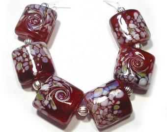 Cranberry Pink Gardens Nuggets, Handmade Glass Lampwork Beads